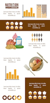 Braunes infographic der nahrung und des lebensmittels