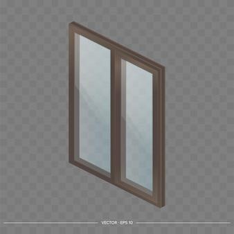 Braunes metall-kunststoff-fenster mit transparenten gläsern in 3d.