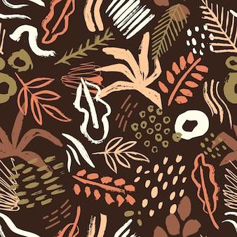 Braunes nahtloses muster mit abstrakten bunten farbflecken