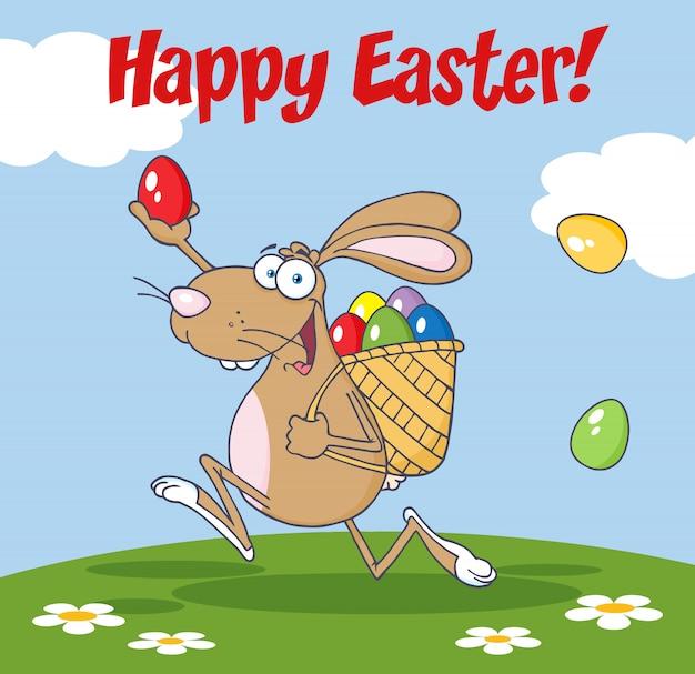 Braunes ostern-kaninchen, das mit einem korb und einem ei läuft