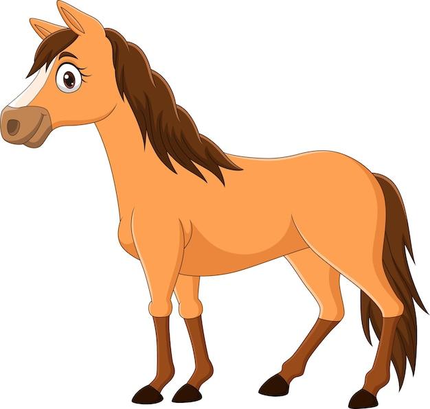 Braunes pferd der karikatur lokalisiert auf weißem hintergrund