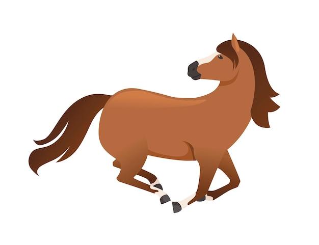 Braunes pferd, wild- oder haustier, das mit kopf läuft, blickt zurück auf cartoon-design-vektor-illustration