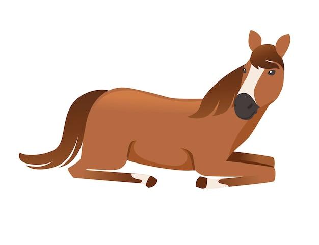 Braunes pferd wild oder inländisch, das auf flacher vektorillustration des bodentierkarikaturdesigns liegt
