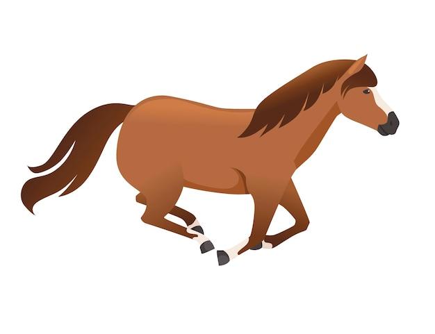 Braunes pferd wildes oder haustier, das flache vektorillustration des karikaturdesigns läuft