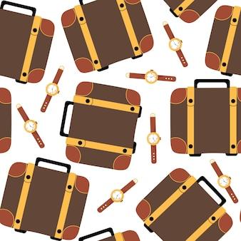 Braunes reiseetui und nahtlose mustervektorillustration der armbanduhr im flachen stil