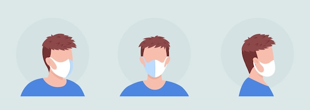 Braunhaariger, halbflacher farbvektor-charakteravatar mit maskensatz. porträt mit atemschutzmaske in vorder- und seitenansicht. isolierte moderne cartoon-stil-illustration für grafikdesign und animationspaket