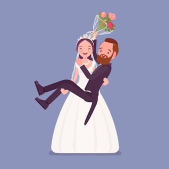 Braut, die bräutigam auf hochzeitszeremonie trägt