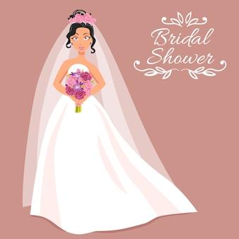 Braut im weißen kleid mit blumenstrauß