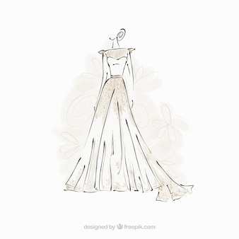 Braut kleid skizze