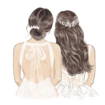 Braut mit brautjungfer im kostüm mit handgezeichneter illustration des bandes