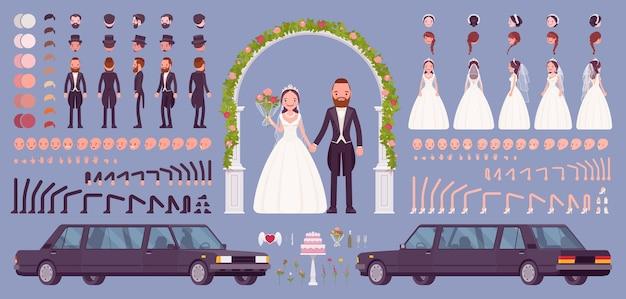 Braut und bräutigam auf einem hochzeitszeremonie-erstellungsset, traditionelles festset mit limousine, blumenbogen, dekorkonstrukteurelementen zum erstellen eigener designs
