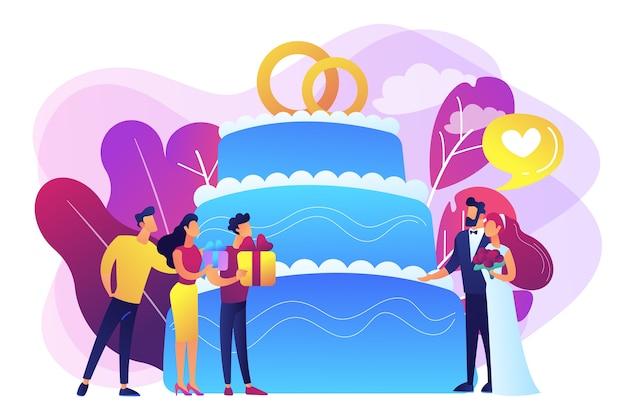 Braut und bräutigam auf hochzeitsfeier und gäste mit geschenken am großen kuchen. hochzeitsfeierplanung, brautpartyideen, brautjungfernkleider und kleiderkonzept.