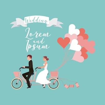 Braut und bräutigam auf tandemfahrrad
