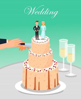 Braut und bräutigam cutting wedding cake zusammen.
