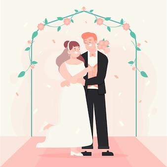 Braut und bräutigam, die veranschaulicht heiraten