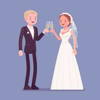 Braut und bräutigam genießen getränke bei der hochzeitszeremonie