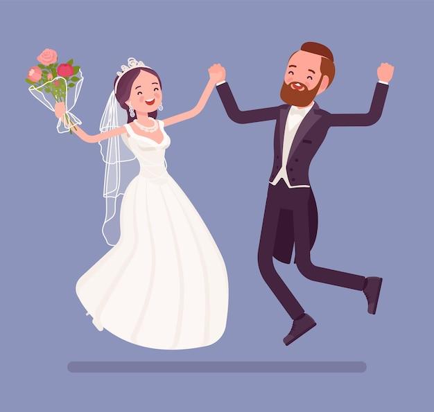 Braut und bräutigam glücklich springen auf hochzeitszeremonie