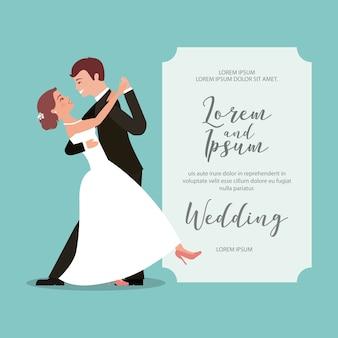 Braut und bräutigam ihre erste tanzhochzeitskarte