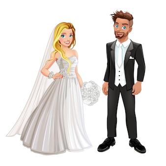Braut und bräutigam in der hochzeit tag vektor isoliert cartoon zeichen