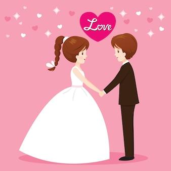 Braut und bräutigam in der hochzeitskleidung, die hände fasst, glücklichen valentinstag