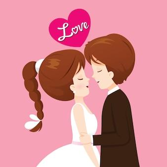 Braut und bräutigam in der hochzeitskleidung werden küssen, glücklicher valentinstag