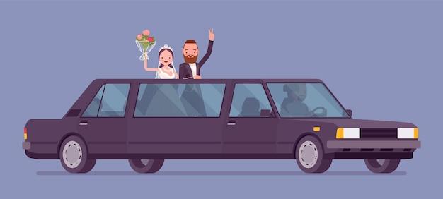 Braut und bräutigam in limousine auf hochzeitszeremonie