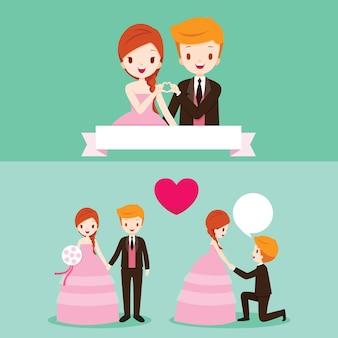 Braut und bräutigam mit verschiedenen aktionen im hochzeitskleidungsset