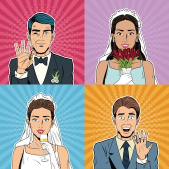 Braut und bräutigam pop-art cartoon
