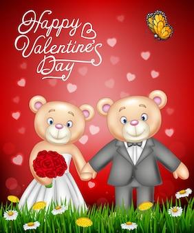 Braut- und bräutigam-teddybären, die heiraten