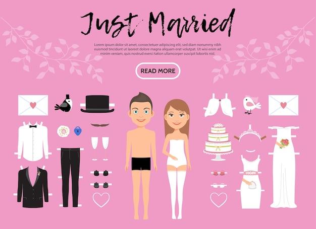 Braut und bräutigam zeichen konstrukteur vorlage mit hochzeitskleidung schuhe brief kuchen tauben