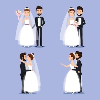 Braut- und bräutigamgesetzte hochzeitspaare romantisch