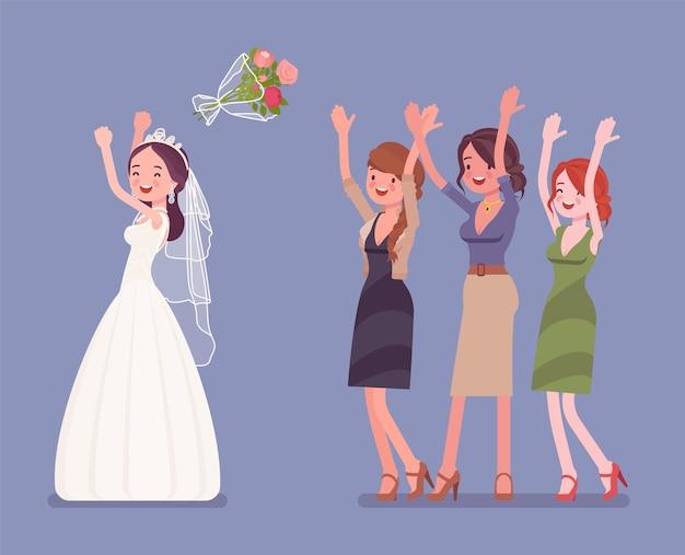 Braut und brautjungfern im blumenstrauß werfen tradition auf hochzeitszeremonie