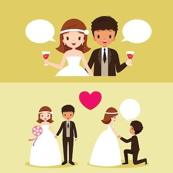 Braut und schwarzer haut-bräutigam mit verschiedenen aktionen im hochzeitskleider-set
