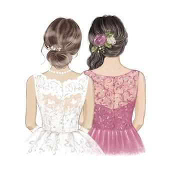 Braut und trauzeugin blumenstück. hand gezeichnete illustration.