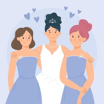 Brautjungfern in schönen kleidern illustriert