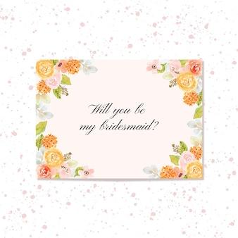 Brautjungfernkarte mit blumenrahmenaquarell