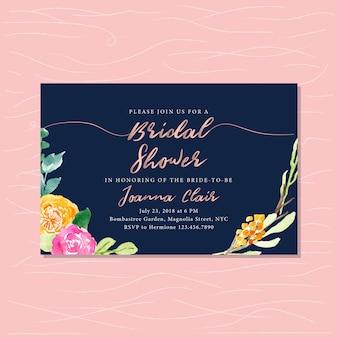 Brautparty mit rosengoldtext und blumenaquarell