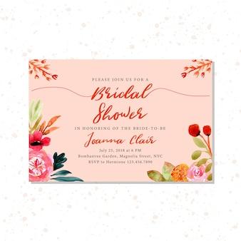 Brautpartyeinladung mit herbstblumenaquarell