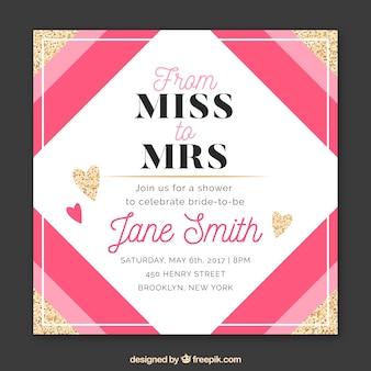 Brautpartyeinladung mit rosaen Formen und goldenen Herzen