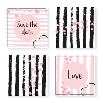 Brautschimmer. ehe-effekt. scrapbook-wallpaper-set. weißes branding-partikel. streifenzauberkunst. rosa romantische karte. schwarze grunge-broschüre. goldener brautschimmer