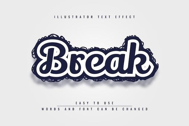 Break - schwarzweiss-bearbeitbarer 3d-texteffektentwurf