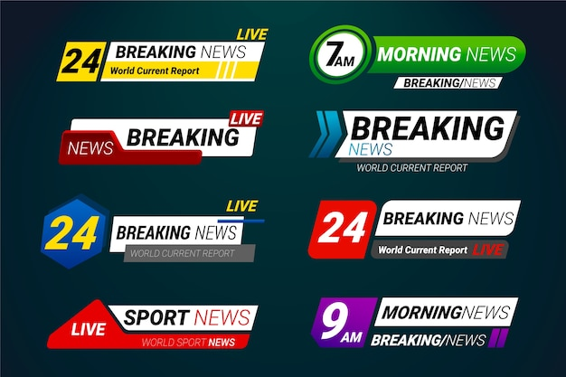 Breaking news banner set vorlage