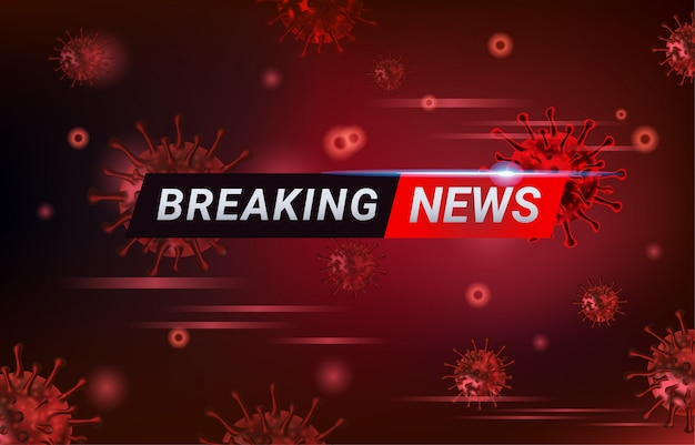 Breaking news-bericht covid-19, ausbruch des corona-virus und influenza im jahr 2020. alarmieren sie fälle von covid-19-stämmen als pandemie.
