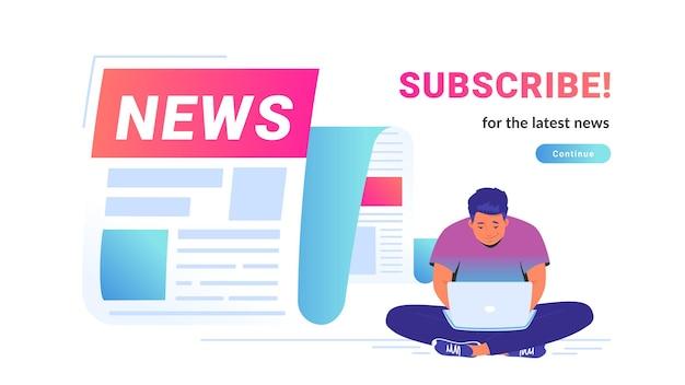 Breaking news fliegen als benachrichtigung über die neuesten updates für welt, unterhaltung und politik. vektorgrafik eines süßen mannes, der allein mit laptop sitzt und tägliche nachrichten und top-geschichten liest
