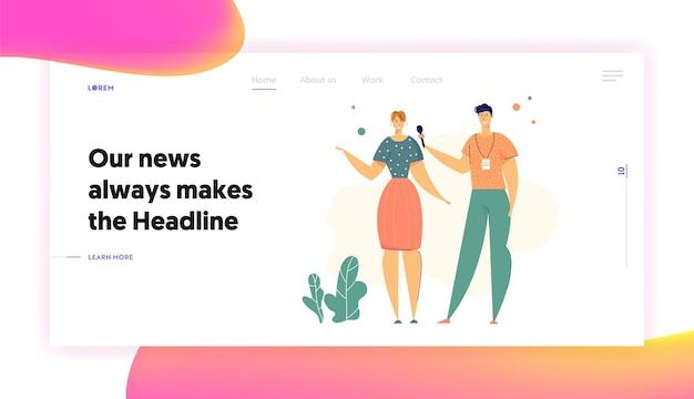 Breaking news-konzept für landing page mit journalistischen personenzeichen