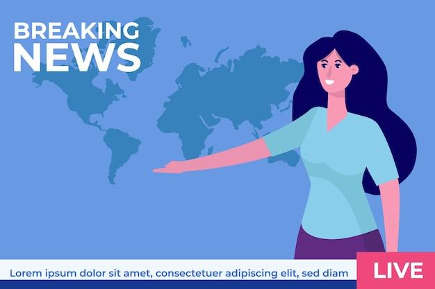 Breaking news konzept mit charakter. tv-nachrichtenstudio mit sender.