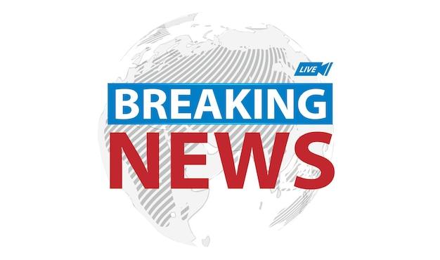 Breaking news live-banner auf weltkartenhintergrund, vektorillustration.