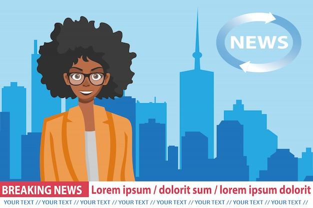 Breaking news mit afroamerikanischer ankerfrau