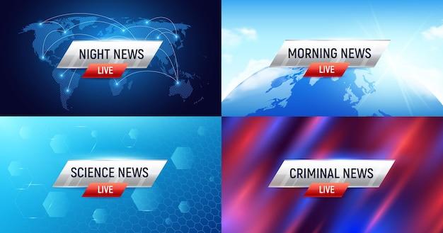 Breaking news-set von vier horizontalen hintergründen