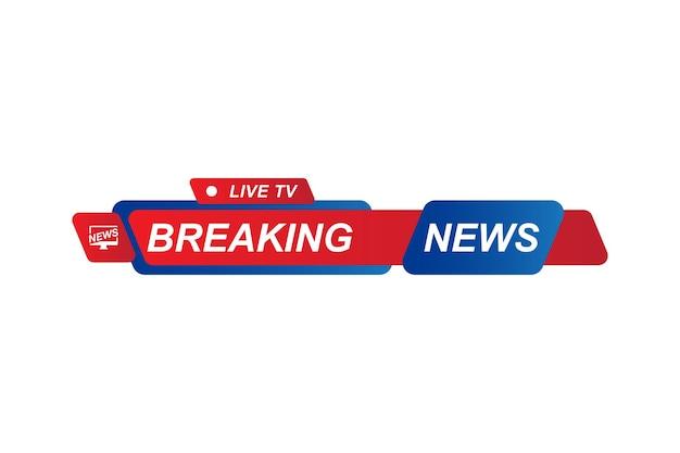 Breaking news-vorlagentitel für bildschirm-tv-kanal auf weißem hintergrund. flache vektorillustration eps10